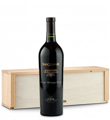 Personalized Wine Gifts: Engraved Bottle of Snoqualmie Syrah