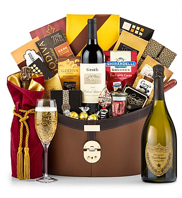 Champagne Baskets: Dom Perignon 2004 Windsor Luxury Gift Basket