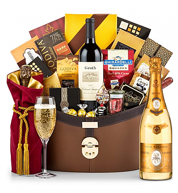 Premium Wine Baskets: Louis Roederer Cristal Brut 2006 Windsor Luxury Gift Basket