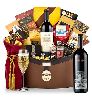 Premium Wine Baskets: Silver Oak Napa Valley Cabernet Sauvignon 2011 Windsor Luxury Gift Basket