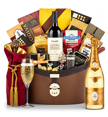Champagne Baskets: Louis Roederer Cristal Brut 2007 Windsor Luxury Gift Basket
