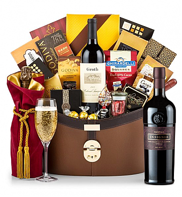 Premium Wine Baskets: Joseph Phelps Napa Valley Insignia Red 2013 Windsor Luxury Gift Basket