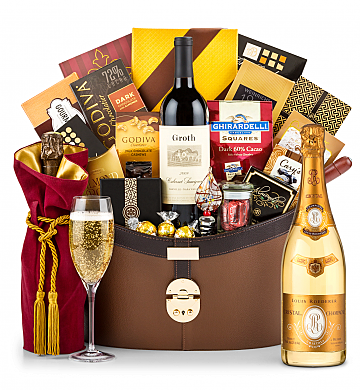 Premium Wine Baskets: Louis Roederer Cristal Brut 2009 Windsor Luxury Gift Basket
