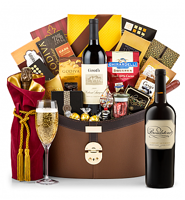 Premium Wine Baskets: Broadstone Sonoma County Knights Valley Cabernet with The Windsor Luxury Gift Basket