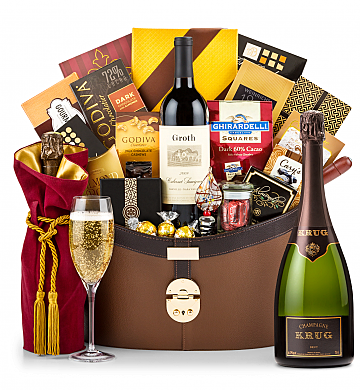 Premium Wine Baskets: Krug Vintage Brut Champagne 2004 Windsor Luxury Gift Basket