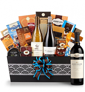 Premium Wine Baskets: Cape Cod Luxury Wine Basket-Beringer Private Reserve Cabernet Sauvignon