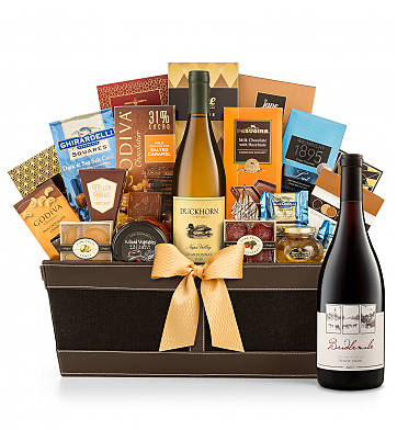 Premium Wine Baskets: Bridlemile Dundee Hills Pinot Noir with Cape Cod Luxury Wine Basket