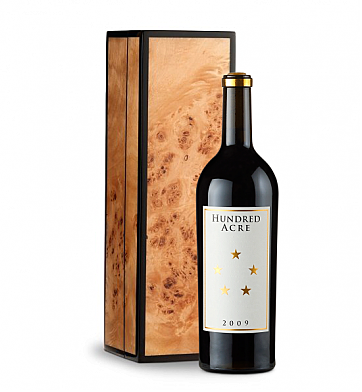 Wine Gift Boxes: Hundred Acre Cabernet Sauvignon in Handcrafted Burlwood Box