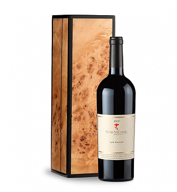 Wine Gift Boxes: Peter Michael in Handcrafted Burlwood Box