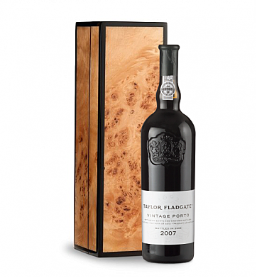 Wine Gift Boxes: Taylor Fladgate Vintage Port 2007 in Handcrafted Burlwood Box