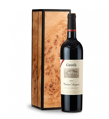 Wine Gift Boxes: Groth Reserve Cabernet Sauvignon in Handcrafted Burlwood Box