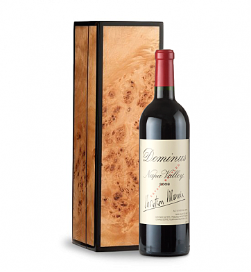Wine Gift Boxes: Dominus Estate 2008 in Handcrafted Burlwood Box