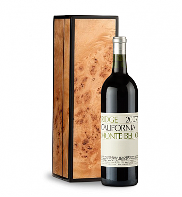 Wine Gift Boxes: Ridge Monte Bello in Handcrafted Burlwood Box