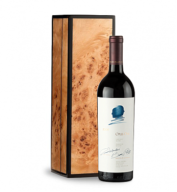 Wine Gift Boxes: Opus One in Handcrafted Burlwood Box