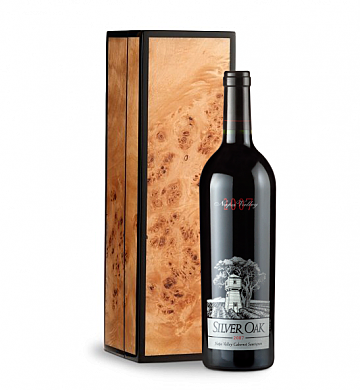 Wine Gift Boxes: Silver Oak Napa Valley Cabernet Sauvignon in Handcrafted Burlwood Box