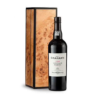 Wine Gift Boxes: Graham's Vintage Port 1994 in Handcrafted Burlwood Box