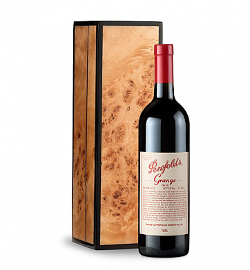 Wine Gift Boxes: Penfolds Grange in Handcrafted Burlwood Box