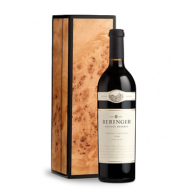 Wine Gift Boxes: Beringer Private Reserve Cabernet Sauvignon in Handcrafted Burlwood Box