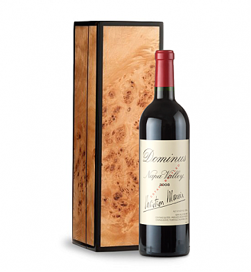 Wine Gift Boxes: Dominus Estate 2009 in Handcrafted Burlwood Box
