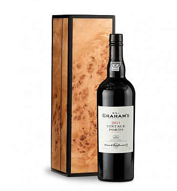 Wine Gift Boxes: Graham's Vintage Port 2011 in Handcrafted Burlwood Box