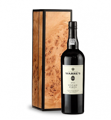 Wine Gift Boxes: Warre' Vintage Port 2011 in Handcrafted Burlwood Box