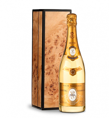 Wine Gift Boxes: Louis Roederer Cristal Brut 2006 in Handcrafted Burlwood Box