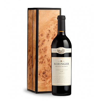 Wine Gift Boxes: Beringer Private Reserve Cabernet Sauvignon 2008 in Handcrafted Burlwood Box