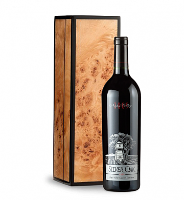 Wine Gift Boxes: Silver Oak Napa Valley 2009 Cabernet Sauvignon in Handcrafted Burlwood Box
