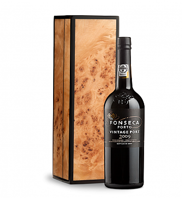 Wine Gift Boxes: Fonseca Vintage Port 2009 in Handcrafted Burlwood Box