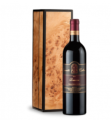 Wine Gift Boxes: Leonetti Reserve Red 2010 in Handcrafted Burlwood Box