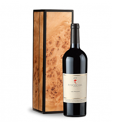 Wine Gift Boxes: Peter Michael Les Pavots 2012 in Handcrafted Burlwood Box