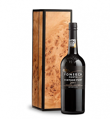 Wine Gift Boxes: Fonseca Vintage Port 2011 in Handcrafted Burlwood Box