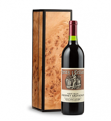 Wine Gift Boxes: Heitz Cellars Napa Valley Cabernet 2011 in Handcrafted Burlwood Box