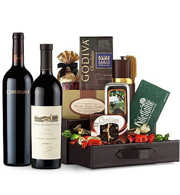 Premium Wine Baskets: Robert Mondavi Reserve Cabernet Sauvignon 2009 & Cardinale Cabernet Sauvignon 2006 Wine and Chocolate Perfection