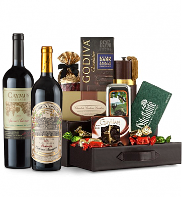Premium Wine Baskets: Far Niente Cabernet Sauvignon & Caymus Special Selection Wine and Chocolate Perfection