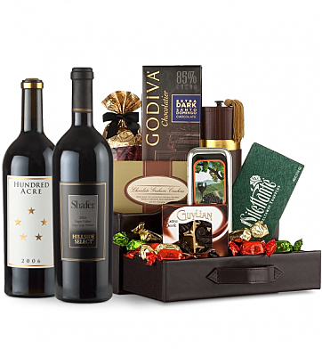 Premium Wine Baskets: Shafer Hillside Select Cabernet Sauvignon & Hundred Acre Cabernet Sauvignon Wine and Chocolate Perfection