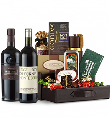 Premium Wine Baskets: Joseph Phelps Insignia  & Ridge Monte Bello Wine and Chocolate Perfection