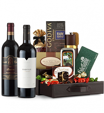 Premium Wine Baskets: Merryvale Profile 2006 & Leonetti Reserve 2006 Wine and Chocolate Perfection