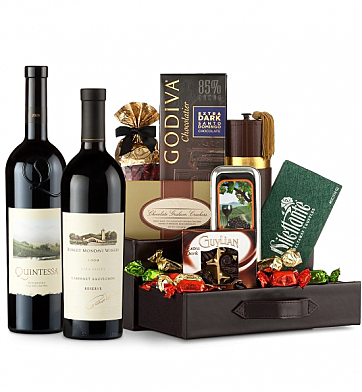 Premium Wine Baskets: Robert Mondavi Reserve Cabernet Sauvignon & Quintessa Wine and Chocolate Perfection