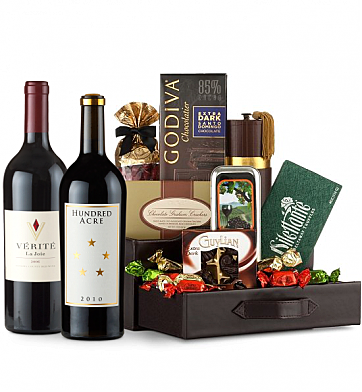 Premium Wine Baskets: Verite La Joie Cabernet Sauvignon & Hundred Acre Cabernet Sauvignon Wine and Chocolate Perfection