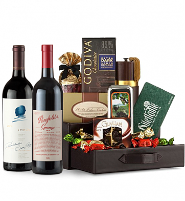 Premium Wine Baskets: Penfolds Grange 2005 & Opus One 2009 Wine and Chocolate Perfection
