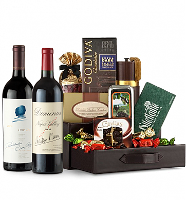 Premium Wine Baskets: Dominus Estate & Opus One Wine and Chocolate Perfection