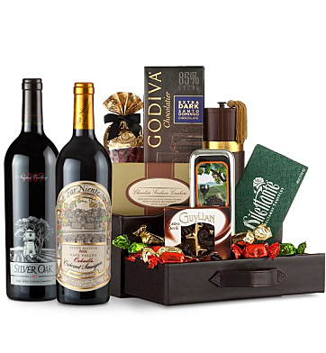 Premium Wine Baskets: Silver Oak & Far Niente Estate Cabernet Sauvignon Wine and Chocolate Perfection