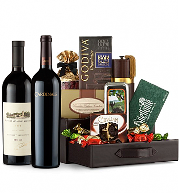 Premium Wine Baskets: Robert Mondavi Reserve Cabernet Sauvignon & Cardinale Cabernet Sauvignon Wine and Chocolate Perfection