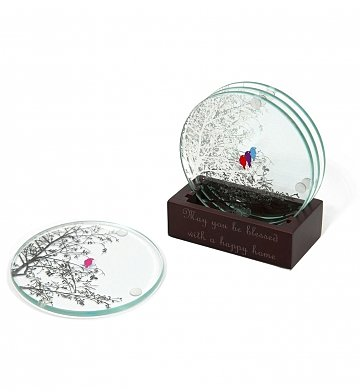 Personalized Keepsake Gifts: Birds of a Feather Coaster Set with Free Engraving