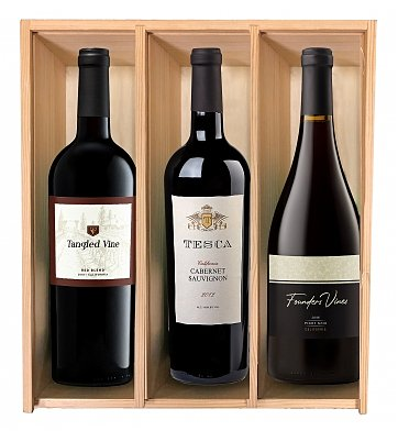 Wine Gift Crates: Simply Elegant Three-Bottle Wine Crate