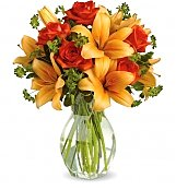 Flower Bouquets: Fiery Lily & Rose Bouquet