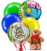 Balloons & Bear: Get Well Balloons & Bear-5 Mylar