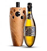 Wine Accessories & Decanters: Kripta Brut Nature Cava Gran Reserva 2007 with Handmade Wooden Wine Vase