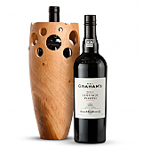 Wine Accessories & Decanters: Graham's Vintage Port 2011 with Handmade Wooden Wine Vase